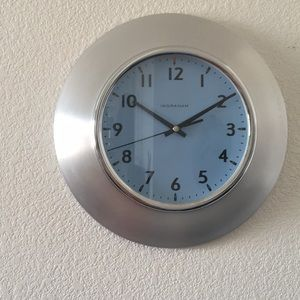 Modern Brushed Aluminum Ingraham Clock